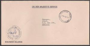 SOLOMON IS 1980 Local official cover - POSTAGE PAID cds Transport Dept.....54387