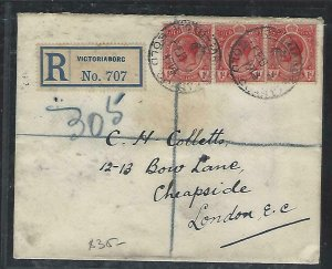 GOLD COAST (P2708B)  1914    KGV 1DX3  REG   VICTORIABORG TO ENGLAND
