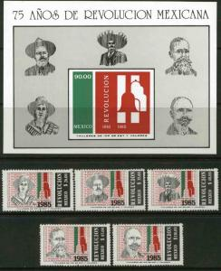 MEXICO 1414-1419 75th Anniversary of the Revolution w/SS MNH