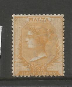 MALTA  1863-81  1/2d  ORANGE BUFF  QV   MLH  SG 8