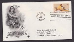 1925 Disabled Persons ArtCraft FDC with neatly typewritten address