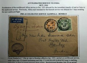 1933 Kampala Uganda KUT Accelerate Service Airmail Cover To Bombay India
