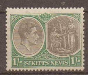 ST.KITTS-NEVIS SG75a 1938 1/= BLACK & GREEN BREAK IN VALUE TABLET VAR MTD MINT