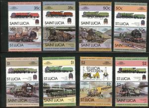 Saint Lucia Scott 617-624  MNH*.Specimen Train Locomotive.overprint set.