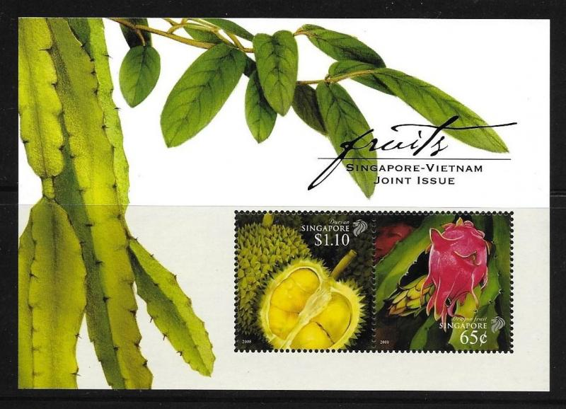 Singapore 2008 Joint Issue With Vietnam Fruits, Durian, Dragon Fruit S/S MNH