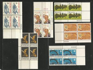 USA Stamps #1343,1344,1365,1356,1357,1358 Blocks of 4