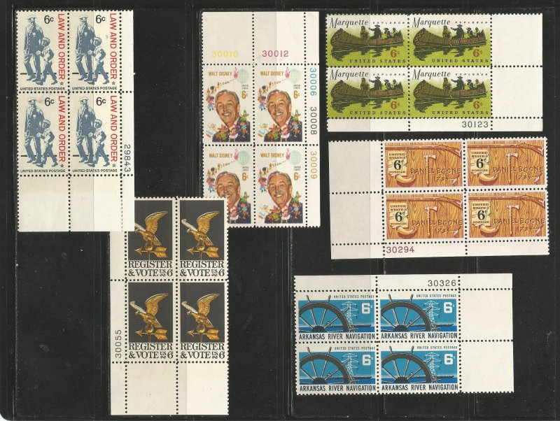 USA Stamps #1343,1344,1365,1356,1357,1358 Blocks of 4