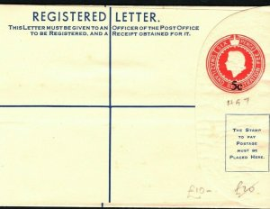 SWAZILAND QEII Unused Registered Postal Stationery 5c Overprint on 6d HG7 PB326