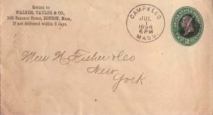 United States Massachusetts Campello 1894 segmented cork  1850-1902  Postal S...