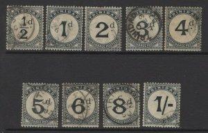 TRINIDAD SGD1/9 1885 POSTAGE DUE SET FINE USED