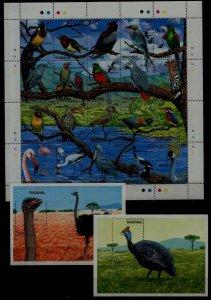 Tanzania 466-67A MNH Birds SCV46