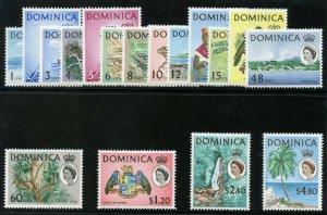 Dominica 1963 QEII Definitives set complete superb MNH. SG 162-178. Sc 164-180.