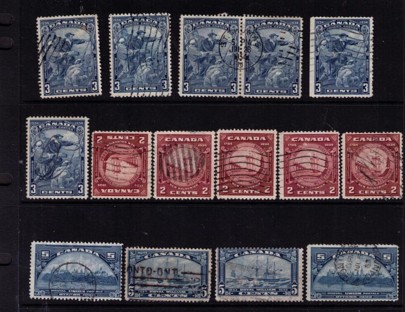 Canada #  202-10 Used 14 F-VF  stamps Cat $ 43