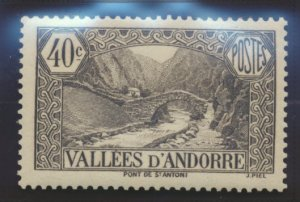 Andorra (French Administration) Stamp Scott #34, Mint Lightly Hinged - Free U...
