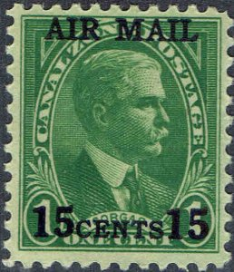 CANAL ZONE #C1 1929 15c AIRMAIL SURCHARGE ON 1c REGULAR ISSUE MINT-OG/LH--VF