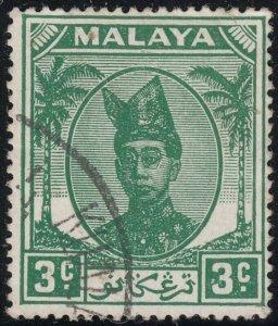 Trengganu 1949 KGVI 3c Green VFU