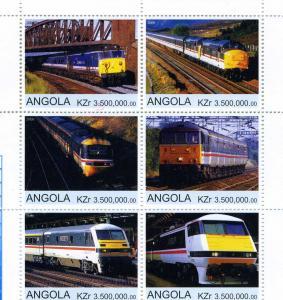 Angola 2000 TRAINS LOCOMOTIVES Sheet (6) Perforated Mint (NH)