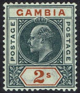 GAMBIA 1902 KEVII 2/- WMK CROWN CA