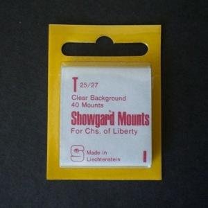 Showgard Stamp Mounts Size T 25/27 CLEAR Background Pack of 40