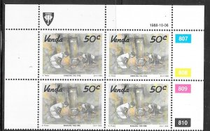 South Africa - Venda  #188 50c margin block of 4 (MNH) CV $2.00