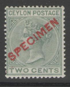 CEYLON SG147s 1884 2c DULL GREEN SPECIMEN MTD MINT