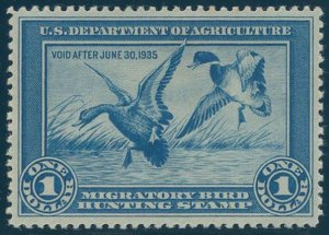 US Scott #RW1 Mint, XF, Hinged, PSE (Graded 90)