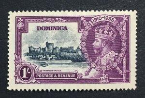 MOMEN: DOMINICA SG #95i 1935 DASH BY TURRET MINT OG H LOT #60672