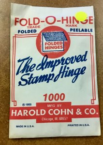 Vintage Fold-O-Hinge  Pack of 1000 Stamp Hinges 1955  original HARCO