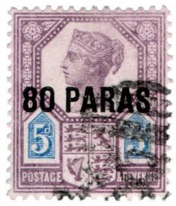 (I.B) Lebanon Postal : British Levant 80pa on 5d (SG 5)