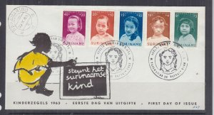 SURINAME, 1963 Child Welfare set of 5 on Illustrated First day cover.