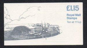 Great Britain Sc BK467, MH76, 1981 Spitfire. Lancaster stamp booklet mint NH
