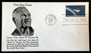 1193 Mercury, First Day Cover, John Glenn Cachet, Vic's Stamp Stash