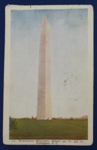 US Washington Monument Postcard With Stamp Postmarked in 1912 (HP20)