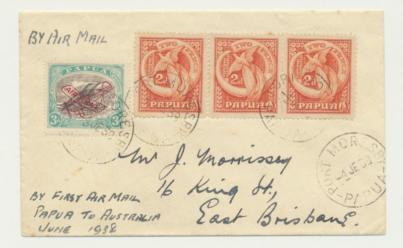 PAPUA - BRIBANE 1938 1st AIRMAIL COVER, 3x2d RATE+ 3d AIR (SEE BELOW)