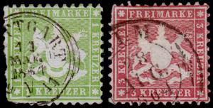 Germany - Wurttemberg Scott 34, 36a (1863) Used H G-F, CV $288.50 B