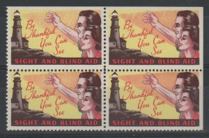 USA Be Thankful You Can See Aid for the Blind Charity Stamps Block of 4 MNH