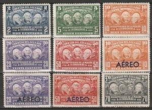 Ecuador 1936 Sc 347-51,C39-42 set MH* some disturbed gum/small thins
