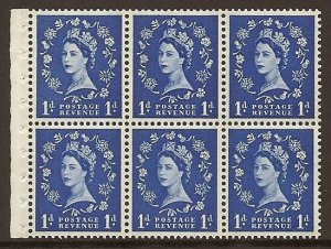SB41 1d Wilding booklet pane Blue phos on Cream perf type I UNMOUNTED MNT/MNH