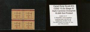 Canal Zone Scott 13 Mint Block of 4 Stamps CZSG Var 13.5 FAINT 'E' VAR & 13.17