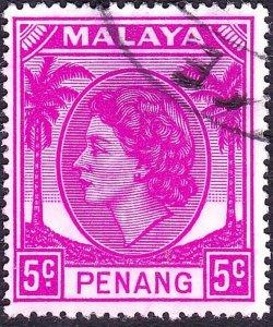 MALAYA PENANG 1954 5c Bright Purple SG31 Fine Used