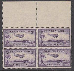 NEW ZEALAND 1935 Airmail 3d block of 4 MNH..................................M194