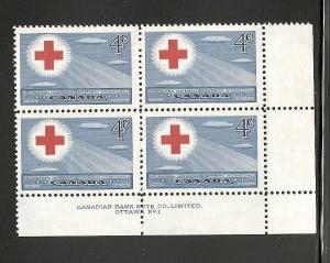 Canada 1952 Red Cross  plate block mnh  SC 317