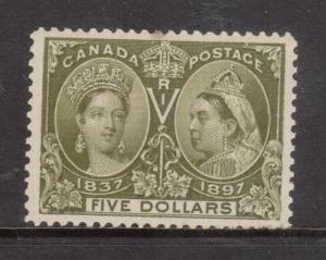 Canada #65 Extra Fine Mint Very Lightly Hinged With One Toned Perf At Center
