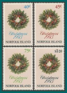 Norfolk Island 1993 Christmas, MNH #546-549,SG556-SG559