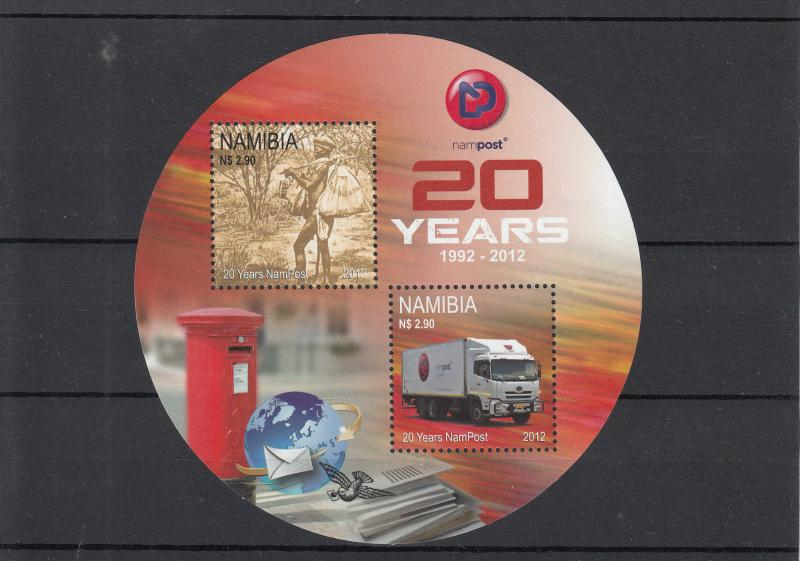 Namibia 2012 MNH 20 Years NamPost 2v Sheet 20th Anniv Lorry Truck
