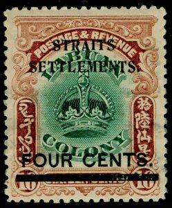 MALAYSIA - Straits Settlements SG145, 4c on 16c grn & brwn, M MINT. Cat £13.