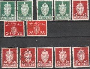 O26,O27,O83,O87 Norway Postage Due Used #190913-1