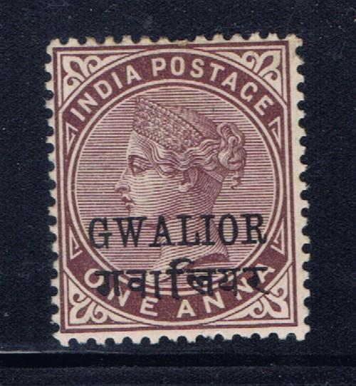 India-Gwalior 15 Lightly Hinged 1885 issue