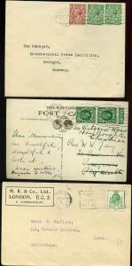 GB King George V x3 Covers including Exhibition Postmark