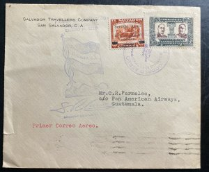 1930 San Salvador El Salvador First Flight Airmail Cover FFC  to Guatemala